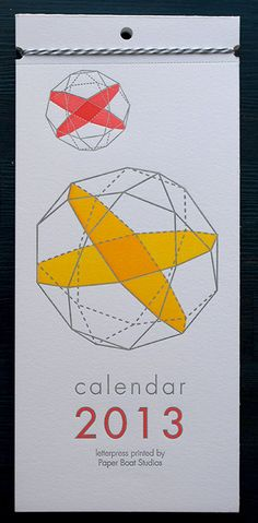 2013 Letterpress Printed Wall Calendar by paperboatstudios on Etsy
