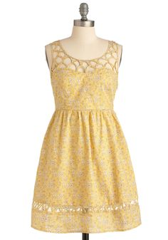 Lemon Lattice Dress via ModCloth II I adore the bias-tape work on this dress!