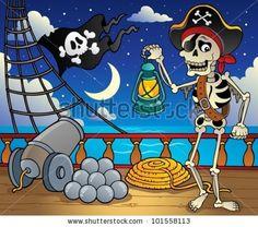 stock vector : Pirate ship deck theme 6 - vector illustration.