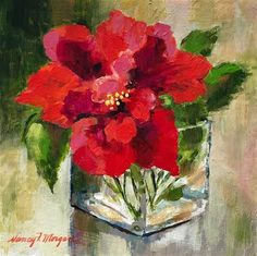 "Daily Paintworks - ""Double Hibiscus"" - Original Fine Art for Sale - © Nancy F. Morgan"