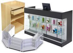 retail showcases and stands for cash registers