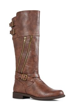 Go for the tough girl look in Geela. Geela by JustFab is a tall flat boot featuring dual asymmetrical outer zippers and buckled strap detail at the ankle and the calf.# justfab fall sweepstakes