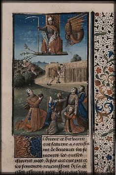 The Hague, MMW, 10 A 11 fol. 333r   Book 7, 19  Saturn in the sky presiding the works of agriculture