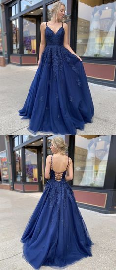 Blue tulle applique lace long prom dress evening dress sold by Hellomisspuff. Navy Blue Prom Dresses, Pretty Prom Dresses, Blue Evening Dresses, Tulle Prom Dress, Lace Dress, Formal Dresses, Bridesmaid Dresses, Blue Lace Prom Dress, Wedding Dresses