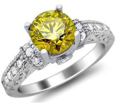 1.56ct Fancy Canary Yellow Round Diamond Engagement Ring 14k White Gold