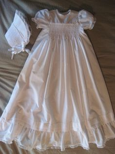 Hand smocked long christening gown and by bunnyluvcreations