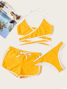 Check out this Contrast Piping Wrap Halter Bikini Set With Shorts on Shein and explore more to meet your fashion needs! Halter Top Swimsuits, Cute Swimsuits, Cute Bikinis, Halter Bikini, Bikini Set, Swimwear, Bikini Girls, Bathing Suits For Teens, Cute Bathing Suits