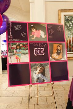 Bat Mitzvah Sign-in Board with Photo Squares