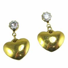 Birthstone Heart Earrings Vintage Avon Gold Tone April White Pierced e719 #Avon #Huggie