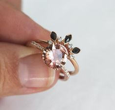 Hailey Oregon Sunstone Ring in Rose Gold with pave diamond band