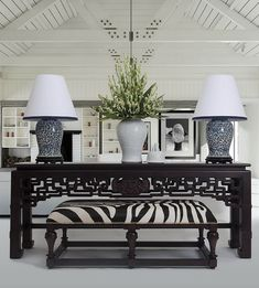 Symmetry, Chinese console, zebra hide on the bench ~ Stuart Membery Home Collection