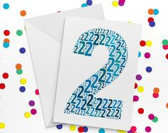 Second Birthday Card, Number Two Card, Second Wedding Anniversary Card, 2nd Birthday,  Happy Birthday Card, Happy Anniversay