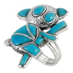 Sterling Silver Koala Bear Ring Turquoise R2329-C05