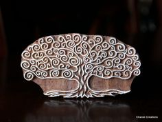 Hand Carved Indian Wood Textile Stamp Block- Swirls Tree of Life