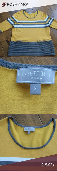 """Laura Plus Gray and Mustard Yellow Tunic Sweater Laura Plus Gray and Mustard Yellow Tunic Sweater ~ Size X (which translates to a size 14 on their website) ~ Armpit to armpit is 21"""" ~ 65% Viscose, 35% Nylon You will love this very soft lightweight sweater that features colours of mustard, gray and cream, faux zippers and textured ribbing on the hem and cuffs. Excellent condition ~ no rips, tears, holes or stains Laura Plus Sweaters Crew & Scoop Necks"""