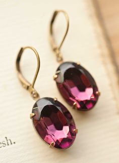 amethyst costume earrings