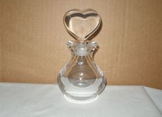 VALENTINE Heart STOPPER Signed ORREFORS Glass or Crystal Clear PERFUME w/ LABEL