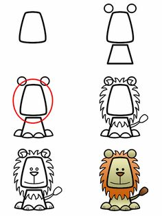How to draw a cartoon lion step 3