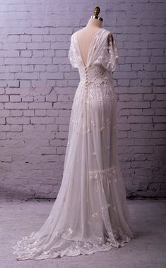 Vintage Wedding Dresses Lace Wedding Gown embroidered tulle with sleeves buttons Wedding Dress Empire, Wedding Dress Black, Tea Length Wedding Dress, Wedding Dresses Plus Size, Princess Wedding Dresses, Dream Wedding Dresses, Bridal Dresses, Wedding Gowns, Lace Wedding