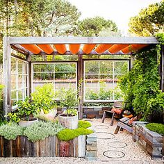 Outdoor lounge with low-water plants and recycled materials