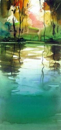 ♥ Watercolor - Unknown Artist  http://www.bestlandscapepaintings.com