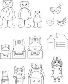 Resultado de imagem para goldilocks and the three bears sequencing Speech Therapy Activities, Kindergarten Activities, Book Activities, Teaching Resources, Bears Preschool, Preschool Crafts, Nursery Rhyme Crafts, Mom Dad Baby, Bear Felt