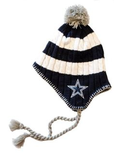 b3230f4293e8b4 Dallas Cowboys Womens Knit Pom Beanie With Tassels Cap Hat Team Colors  Dallas Cowboys Authentic Apparel