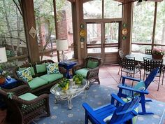 Nice big screened in porch. Nice colors in the decorating.