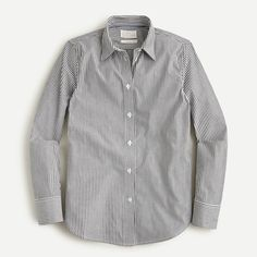 J.Crew: Slim-fit Stretch Cotton Poplin Shirt In Stripe For Women Wear Test, Professional Outfits, Cashmere Sweaters, Mens Suits, Chambray, Poplin, J Crew, Organic Cotton, Slim