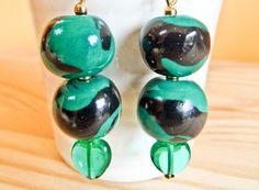 Black and Bottle Green Earrings Green Earrings, Bottle, Handmade, Black, Hand Made, Black People, Flask, Jars, Handarbeit