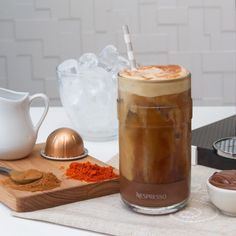 "381 Likes, 30 Comments - @nespressousa on Instagram: ""The Spiced Hazelnut Iced Latte — #cinnamon, cayenne, #hazelnut spread, milk and ice-brewed…"""