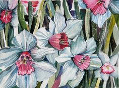 Rose Cupped Daffodils Painting by Mindy Newman - Rose Cupped Daffodils Fine Art Prints and Posters for Sale