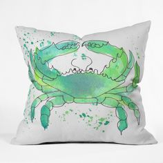 DENY Designs Seafoam Green Crab by Laura Trevey Indoor/Outdoor Throw Pillow | AllModern