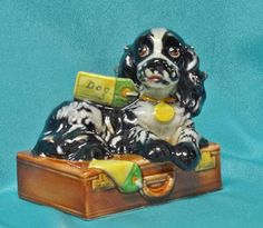 Vintage 1957 Goebel Albert Staehle Butch Cocker Spaniel Dog Figurine Bon Voyage