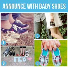 Announce Pregnancy with shoes! 4 shoes & Lady's paws with baby shoes in between
