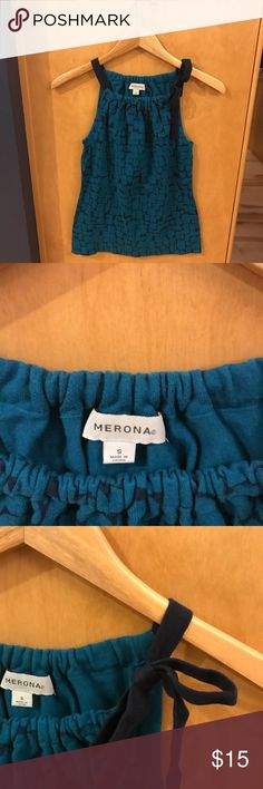 Beautiful summer top!! Teal and navy blue Merona top with shoulder tie.  Is super cute for summer and pairs well with jeans or shorts! Merona Tops Tank Tops