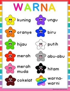 Ayo Belajar Warna - Colour/color in Bahasa Indonesia/Indonesian all in one pack Free Kindergarten Worksheets, Kindergarten Learning, Preschool Learning Activities, Preschool Lessons, Worksheets For Kids, Preschool Colors, Preschool Writing, Learning English For Kids, English Language Learning