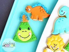 My favorite cookie from last week. I had so many cute themes last week, but this one takes the 'hat'! 🦖🦕 Designed to match the Party City dino set. Cute Themes, My Sister In Law, Hat, Cookies, My Favorite Things, Color, Design, Biscuits, Colour