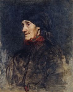 "Anton Ažbe: ""Starka z ruto""(Old woman with a headscarf), by 1905, oil on canvas, Dimensions: 68 × 55.4 cm (26.8 × 21.8 in), Current location: National Gallery of Slovenia."