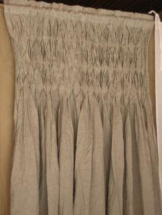 Burlap smocked drapes ... LOVE !!
