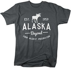 Show off some state pride or just your love for Alaska in this t-shirt that features a moose silhouette and the year Alaska became a state (1959). These tshirts are great for people who live in Alaska