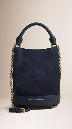 Navy The Small Bucket Bag in Suede - Burberry