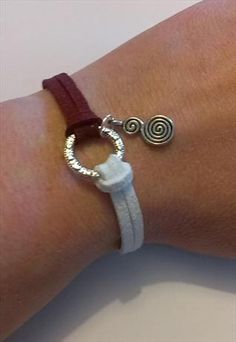 Spiritual Spiral Burgundy and White Suede Bracelet