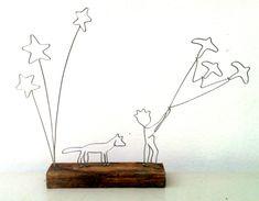 Micul Prinț, lemn vintage & sârmă, înălțime 35 cm