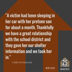 "Day ""Thankfully we have a great relationship with the school district and they gave her our shelter information. Domestic Violence, School District, Respect, Shelter, October, Relationship, California, Relationships"