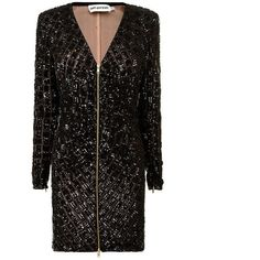 Self Portrait Zip Sequin Dress (€340) ❤ liked on Polyvore featuring dresses, black, sequin dress, zipper dress, sequin cocktail dresses, long sleeve sequin dress and sequin embellished dress