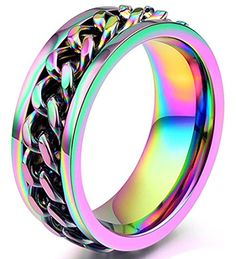 DDOLAA 8mm Colorful Chain Design Stainless Steel Spins Rings For Unisex Wedding Bands Ring