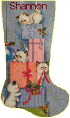Cross Stitch Christmas Stocking Siamese Kittens by SherrysHouse