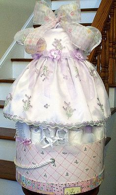 Tutu Diaper Cake Baby Shower Centerpiece Lavender Girl Nursery Easter Dress…