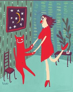 Dance with a Cat Art Painting - Girl Dances with Red Cat - Teal Aqua Mint Blue Green